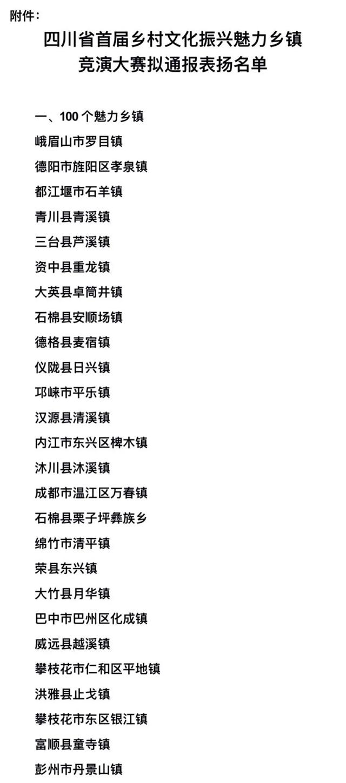 四川公布拟通报表扬名单!泸州这些魅力乡镇、乡土文化能人上榜(图1)